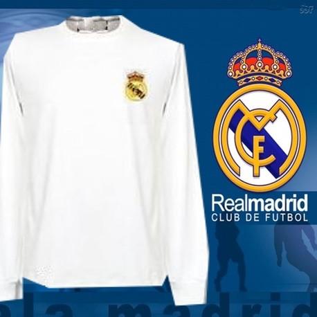 Camisa Retrô Real Madrid branca ML - ESP