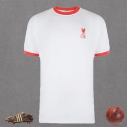 Camisa retrô Liverpool branca gola redonda   tradicional- ENG