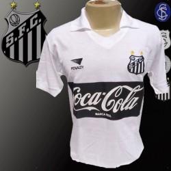 Camisa retrô Santos branca coca cola preta Penalty - 1989