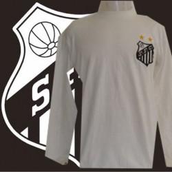 Camisa retrô Santos ML  branca 1962 gola redonda