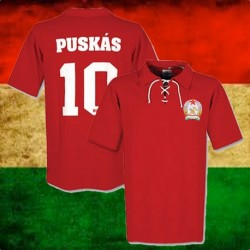 Camisa retrô Hungria vermelha  Puskas  cordinhas