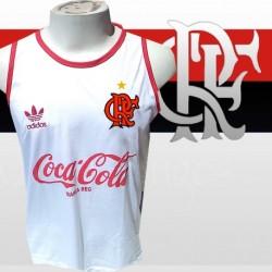 Regata  estile retrô  branca  Flamengo