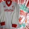 Camisa retrô Liverpool  Hitachi   branca   1978 - ENG