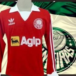 Camisa Retrô Palmeiras 1987 -  Agip  vermelha ML gola branca