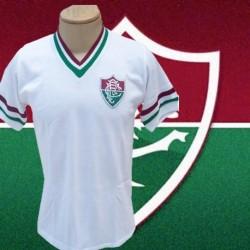 Camisa retrô Fluminense gola V branca - 1964