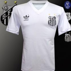 Camisa retrô Santos logo coca cola vermelho.