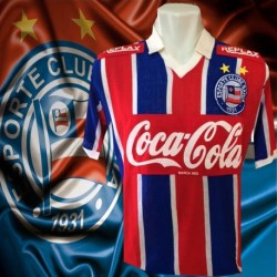 Camisa retrô Bahia   Replay  gola polo 1988