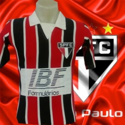 Camisa retrô  São Paulo FC  listrada gola polo IBF  1991.