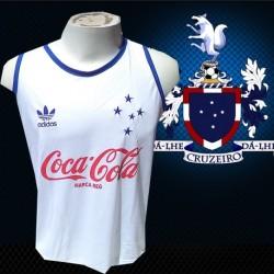 Regata retrô  branca Cruzeiro coca cola
