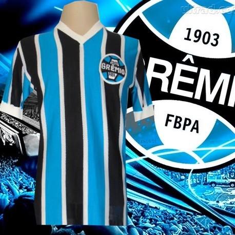 - Camisa retrô listrada Grêmio 1977 - Olympicus