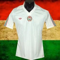 Camisa retrô Hungria branca listrada -1980