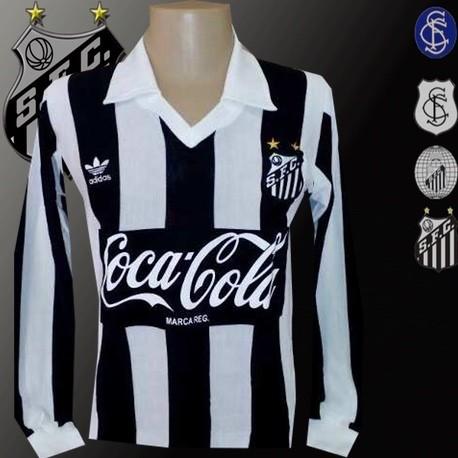 Camisa retrô Santos Listrada Logo coca cola preto.