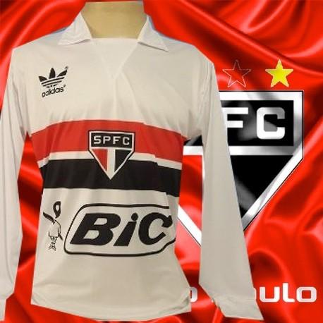 571bbeda9d Camisa retro São Paulo branca ML- BIC - Camisas de Clubes Futebol ...
