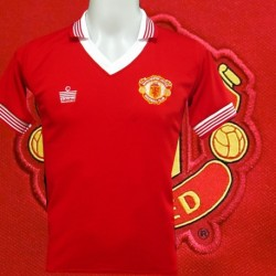 Camisa retrô Manchester United vermelha Sharp - ENG