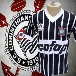 Camisa retrô Corinthians1983 away Cofap manga curta