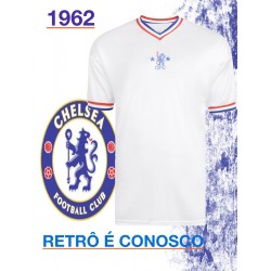 Camisa retrô Chelsea branca gola V 1960 - ENG