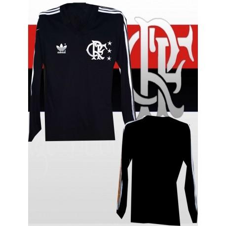 Camisa retrô Flamengo Lubrax preta listra vermelha