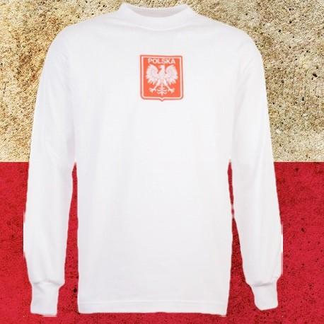Camisa retrô Polonia branca logo ML - 1978