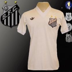 Camisa retrô Santos logo gola V- 1980