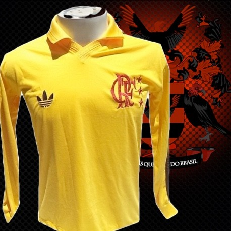 Camisa retrô goleiro Raul Flamengo amarela manga longa