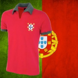 Camisa retrô Portugal 1972 gola polo