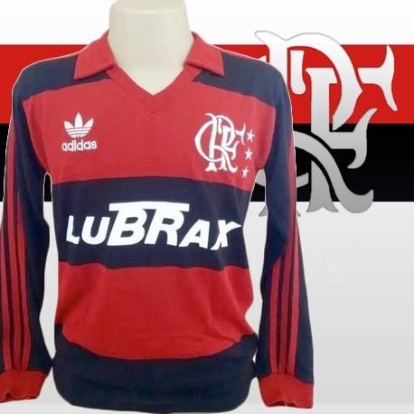 c598c483e8 Camisa retrô Flamengo Lubrax Manga Longa - Camisas de Clubes Futebol ...