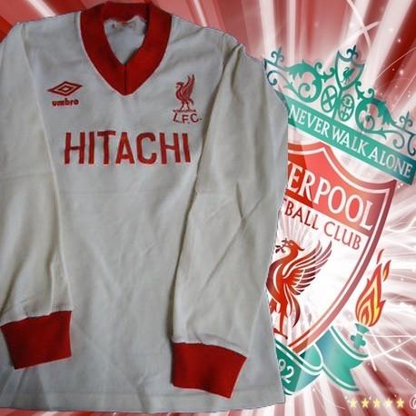 8216e5bccd Camisa retrô Liverpool Hitachi branca ML 1978 - ENG