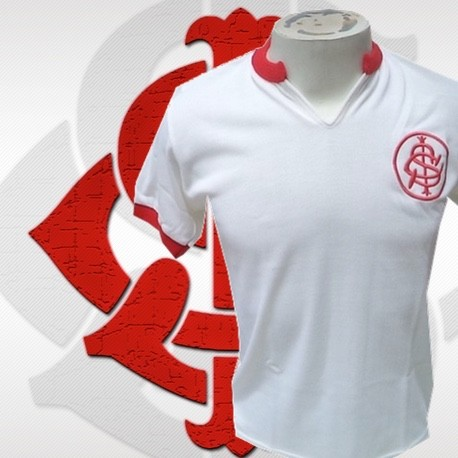Camisa retrô Internacional branca gola redonda -1970