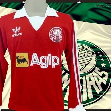Camisa Retrô Palmeiras 1987 - Agip azul ML gola branca