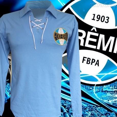 fbecb14882 Camisa retrô Grêmio celeste ML cordinha