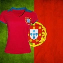 Camisa retrô Portugal 1966 gola redonda